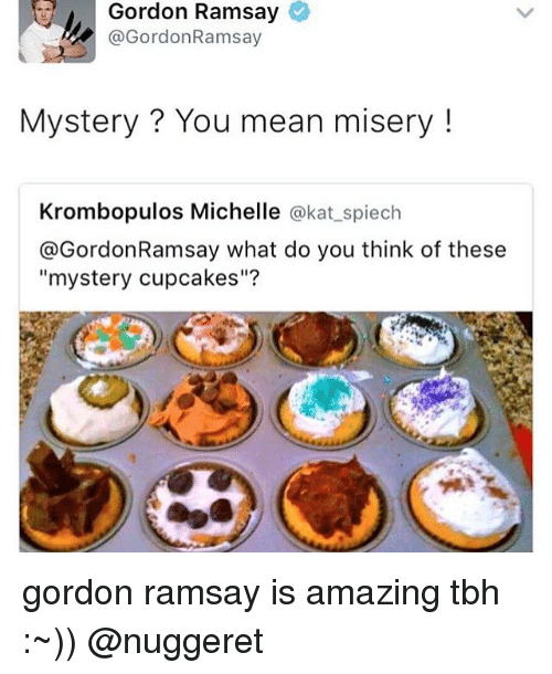 "Gordon Ramsay, Memes, and Tbh: Gordon Ramsay  @Gordon Ramsay  Mystery You mean misery  Krombopulos Michelle  @kat spiech  @Gordon Ramsay what do you think of these  ""mystery cupcakes""? gordon ramsay is amazing tbh :~)) @nuggeret"