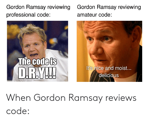 Moist: Gordon Ramsay reviewing  professional code:  Gordon Ramsay reviewing  amateur code:  The Godels  It's nice and moist...  delicious When Gordon Ramsay reviews code: