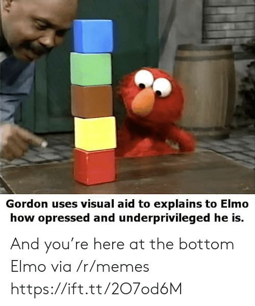 Elmo: Gordon uses visual aid to explains to Elmo  how opressed and underprivileged he is. And you're here at the bottom Elmo via /r/memes https://ift.tt/2O7od6M