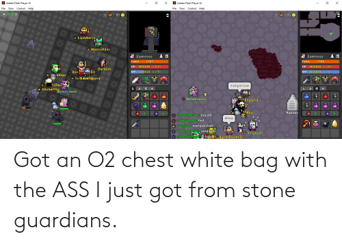 The Ass: Got an O2 chest white bag with the ASS I just got from stone guardians.