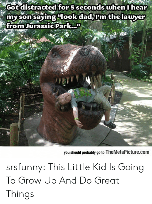 """Jurassic Park: Got distracted for 5 seconds when I hear  my son saying look dad,I'm the lawyer  from Jurassic Park...""""  0O  you should probably go to TheMetaPicture.com srsfunny:  This Little Kid Is Going To Grow Up And Do Great Things"""
