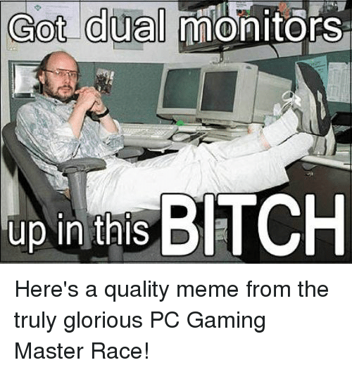 Pc Gaming Master Race: Got dual  monitors  up in this BITCH Here's a quality meme from the truly glorious PC Gaming Master Race!