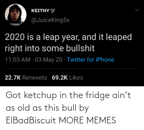 the fridge: Got ketchup in the fridge ain't as old as this bull by ElBadBiscuit MORE MEMES