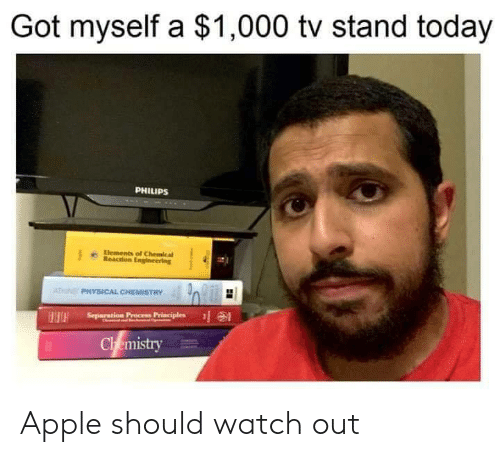 philips: Got myself a $1,000 tv stand today  PHILIPS  Elements of Chemical  Reaction Engineering  ATN PHYSICAL CHEMISTRY  Separation Precess Principles  HH  Chemistry Apple should watch out