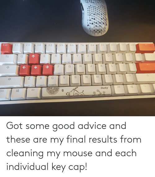 Individual: Got some good advice and these are my final results from cleaning my mouse and each individual key cap!