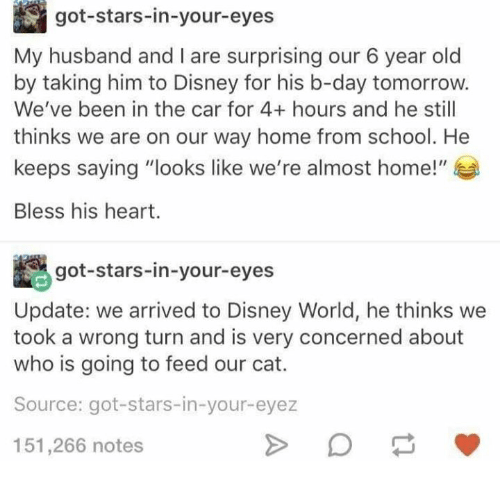 """Bless His Heart: got-stars-in-your-eyes  My husband and I are surprising our 6 year old  by taking him to Disney for his b-day tomorrow.  We've been in the car for 4+ hours and he still  thinks we are on our way home from school. He  keeps saying """"looks like we're almost home!""""  Bless his heart.  got-stars-in-your-eyes  Update: we arrived to Disney World, he thinks we  took a wrong turn and is very concerned about  who is going to feed our cat.  Source: got-stars-in-your-eyez  151,266 notes"""
