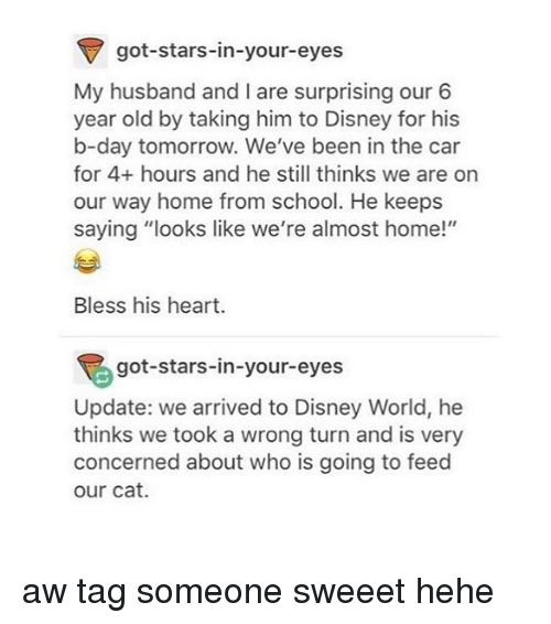 """Bless His Heart: got-stars-in-your-eyes  My husband and I are surprising our 6  year old by taking him to Disney for his  b-day tomorrow. We've been in the car  for 4+ hours and he still thinks we are on  our way home from school. He keeps  saying """"looks like we're almost home!""""  Bless his heart.  got-stars-in-your-eyes  Update: we arrived to Disney World, he  thinks we took a wrong turn and is very  concerned about who is going to feed  our cat. aw tag someone sweeet hehe"""
