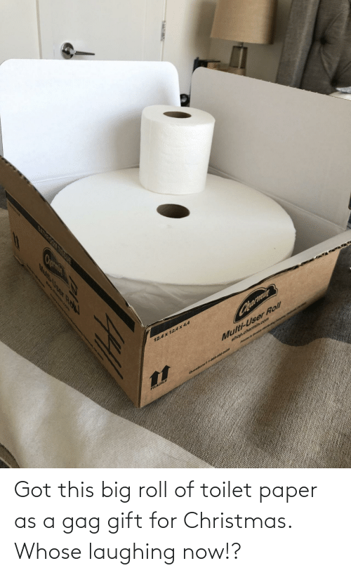 toilet: Got this big roll of toilet paper as a gag gift for Christmas. Whose laughing now!?