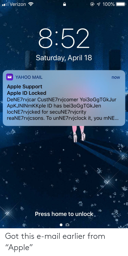 "Mail: Got this e-mail earlier from ""Apple"""