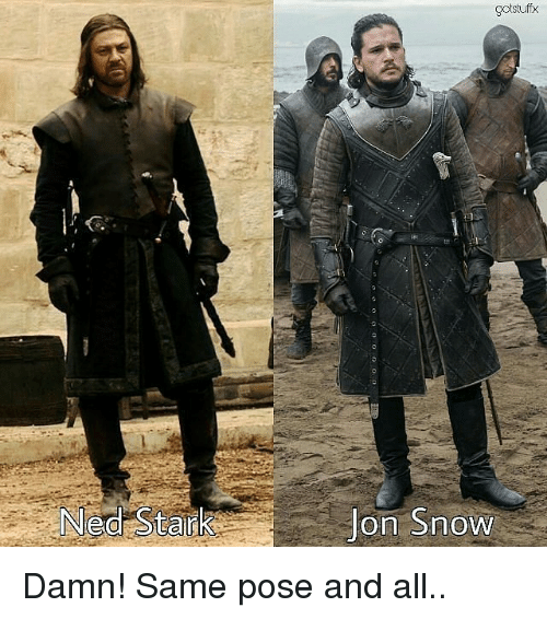 Memes, Jon Snow, and Snow: gotstuffx  Ned Staid  Jon Snow Damn! Same pose and all..
