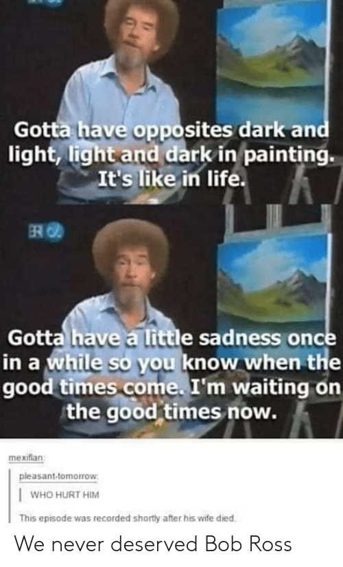 Know When: Gotta have opposites dark and  light, light and dark in painting.  It's like in life.  ERO  Gotta have a little sadness once  in a while so you know when the  good times come. I'm waiting on  the good times now.  mexiflan  pleasant-tomorrow  WHO HURT HIM  This episode was recorded shortly after his wife died We never deserved Bob Ross