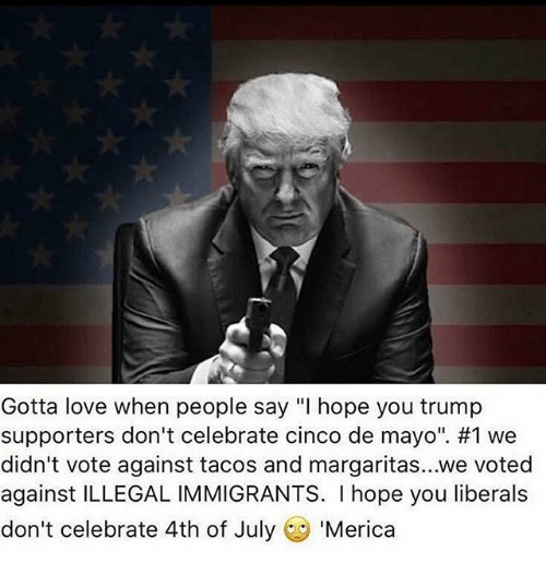 "Love, Memes, and 4th of July: Gotta love when people say ""l hope you trump  supporters don't celebrate cinco de mayo"". #1 we  didn't vote against tacos and margaritas...we voted  against ILLEGALIMMIGRANTS. I hope you liberals  don't celebrate 4th of July  Merica"