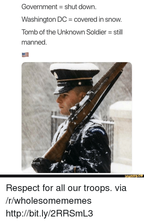 Washington Dc: Government shut down.  Washington DC covered in snow  Tomb of the Unknown Soldier still  manned  ト   funny Respect for all our troops. via /r/wholesomememes http://bit.ly/2RRSmL3