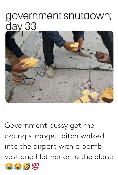 dav: government snutdown,  dav 33 Government pussy got me acting strange...bitch walked into the airport with a bomb vest and I let her onto the plane 😂😂🤣💯