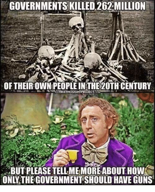 Guns, Memes, and Government: GOVERNMENTS KILLED 262MILLION  OF THEIROWNPEOPLE INTHE 20TH CENTURY  BUT PLEASE TELL ME MOREABOUT HOW  ONLY THE GOVERNMENT SHOULD HAVE GUNS