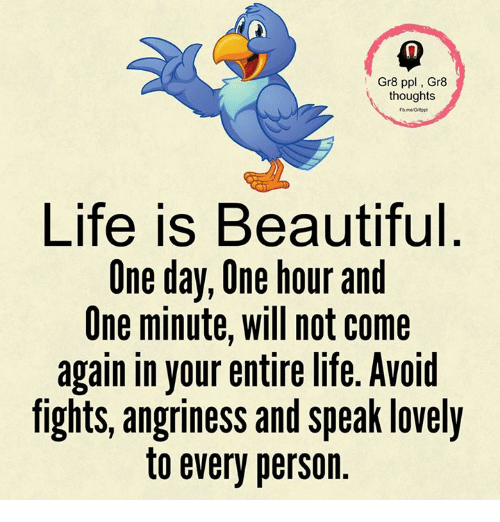 Beautiful, Life, and Memes: Gr8 ppl, Gr8  thoughts  Life is Beautiful  One day, One hour and  One minute, will not come  again in your entire life. Avoid  fights, angriness and speak lovely  to every person