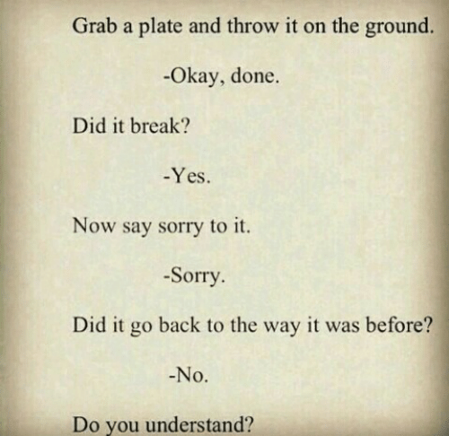 do you understand: Grab a plate and throw it on the ground.  -Okay, done.  Did it break?  Yes.  Now say sorry to it.  -Sorry  Did it go back to the way it was before?  No.  Do you understand?