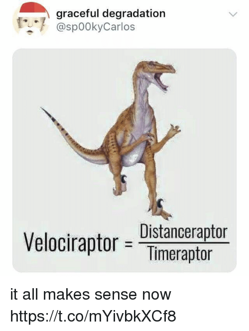 degradation: graceful degradation  @spookyCarlos  Distancerapto  Velociraptor= Timeraptor it all makes sense now https://t.co/mYivbkXCf8