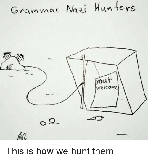 Grammar Nazis: Grammar Nazi  Hunters  your  welcome This is how we hunt them.