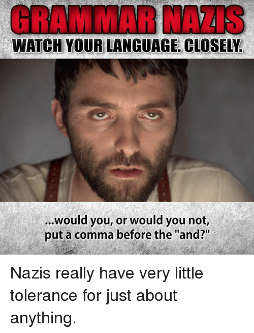 """Grammar Nazis: GRAMMAR NAZIS  WATCH YOUR LANGUAGE. CLOSELY.  ...Would you, or would you not,  put a comma before the """"and?"""" Nazis really have very little tolerance for just about anything."""