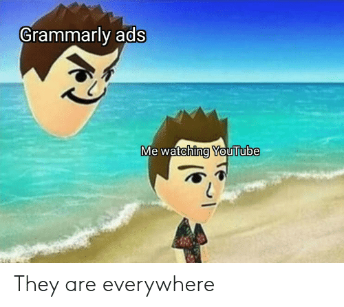 Grammarly: Grammarly ads  Me watching YouTube They are everywhere