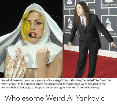 "Grammy Awards: GRAMMY AWARDS  Weird Al Yankovic recorded a parody of Lady Gaga's ""Born This Way,"" entitled ""Perform This  Way,"" and all of the proceeds from the parody and its music video were donated to the  Human Rights Campaign, to support the human rights themes of the original song Wholesome Weird Al Yankovic"