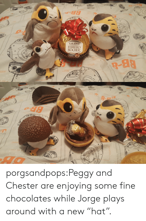 "peggy: GRAND  FERRERC  ROCHER  9-88 porgsandpops:Peggy and Chester are enjoying some fine chocolates while Jorge plays around with a new ""hat""."