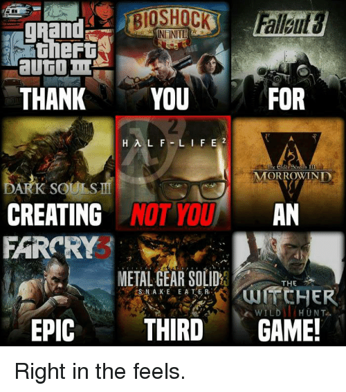Memes, Wild, and Grand: gRand  thert  THANKYOU  FOR  A.  der  MORROWINE  ARK SO  CREATING  FARCRY  NOT YOUAN  METAL GEAR SOLID  THE  WILD HUNT  EPIC THIRDGAME! Right in the feels.