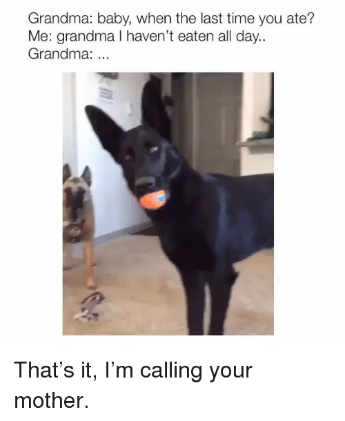 Grandma, Memes, and Time: Grandma: baby, when the last time you ate?  Me: grandma I haven't eaten all day..  Grandma: That's it, I'm calling your mother.