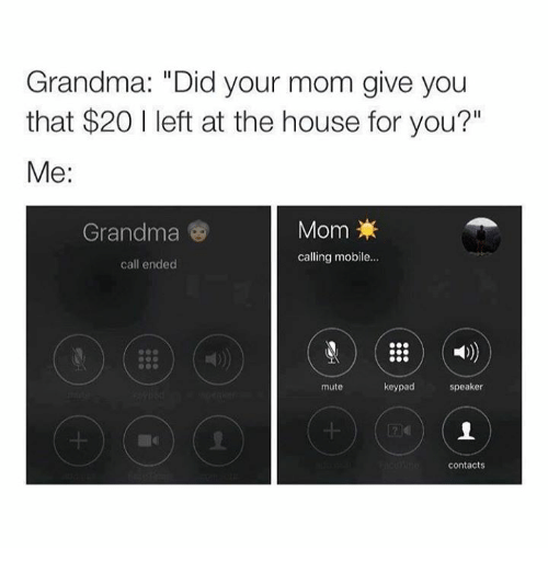 "Call Ended: Grandma: ""Did your mom give you  that $20 I left at the house for you?""  Me:  Grandma  Mom  calling mobile...  call ended  1)  mute  keypad  speaker  contacts"
