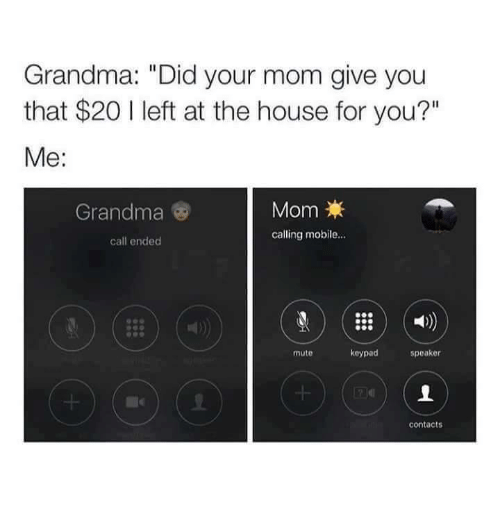 "Funny, Grandma, and Moms: Grandma: ""Did your mom give you  that $20 l left at the house for you?""  Me  Mom  Grandma  calling mobile...  call ended  keypad  speaker  mute  contacts"