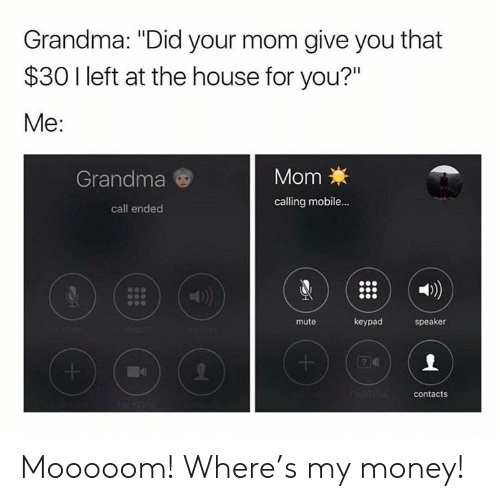 "Call Ended: Grandma: ""Did your mom give you that  $30 I left at the house for you?""  Me:  Grandma  MomX  calling mobile...  call ended  1)  mute  keypad  speaker  contacts Mooooom! Where's my money!"