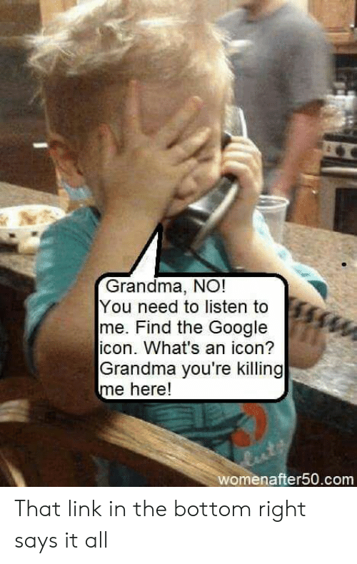youre killing me: Grandma, NO!  You need to listen to  me. Find the Google  icon. What's an icon?  Grandma you're killing  me here!  womenafter50.com That link in the bottom right says it all