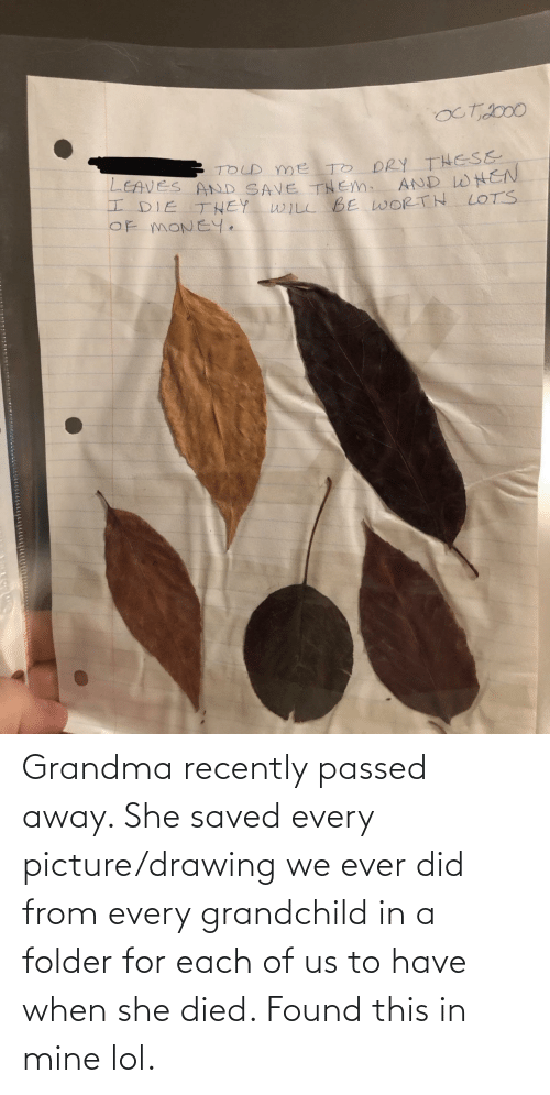 drawing: Grandma recently passed away. She saved every picture/drawing we ever did from every grandchild in a folder for each of us to have when she died. Found this in mine lol.