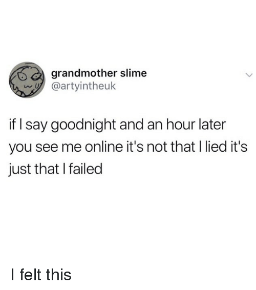 Funny, Online, and Slime: grandmother slime  y @artyintheuk  if I say goodnight and an hour later  you see me online it's not that l lied it's  just that I failed I felt this