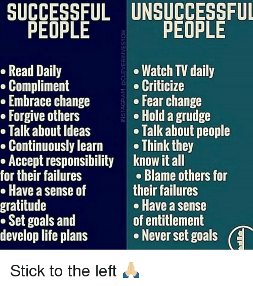 entitlement: gratitude  UNSUCCESSFUL  PEOPLE  PEOPLE  Watch TV daily  Criticize  change  Fear change  others  Hold a grudge  Ideas  Talk about people  learn  Think they  responsibility know it all  failures  Blame others for  sense of  their failures  Have a sense  Set goals and  of entitlement  develop life plans  e Never set goals  (E Stick to the left 🙏🏼