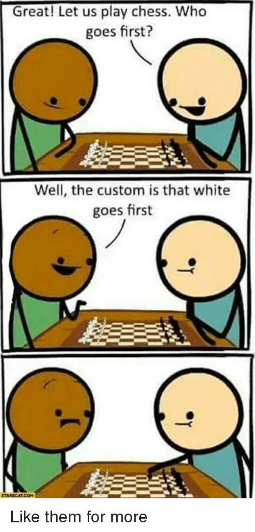 Memes, Chess, and White: Great! Let us play chess. Who  goes first?  Well, the custom is that white  goes first Like them for more
