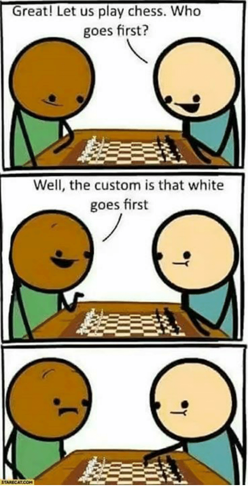 Memes, Chess, and White: Great! Let us play chess. Who  goes first?  Well, the custom is that white  goes first
