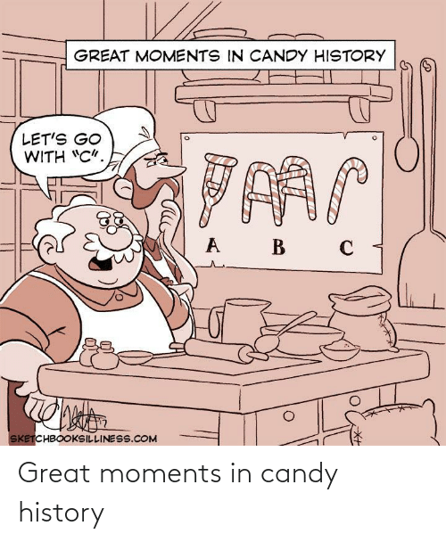 """lets go: GREAT MOMENTS IN CANDY HISTORY  LET'S GO  WITH """"C"""".  B  SKETCHBOOKSILLINESS.COM Great moments in candy history"""