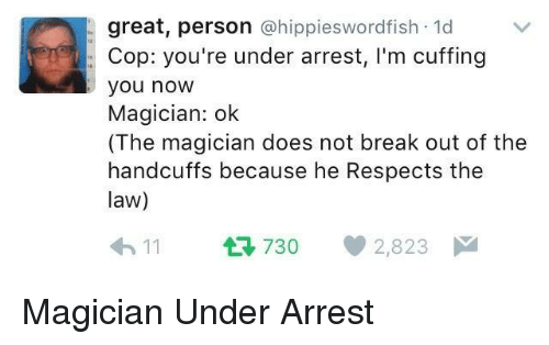 Break, Law, and Magician: great, person @hippieswordfish 1d  Cop: you're under arrest, I'm cuffing  you now  Magician: ok  (The magician does not break out of the  handcuffs because he Respects the  law)  11 730 2,823 Magician Under Arrest