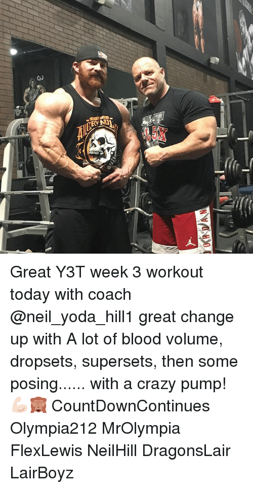 neile: Great Y3T week 3 workout today with coach @neil_yoda_hill1 great change up with A lot of blood volume, dropsets, supersets, then some posing...... with a crazy pump! 💪🏻🙈 CountDownContinues Olympia212 MrOlympia FlexLewis NeilHill DragonsLair LairBoyz