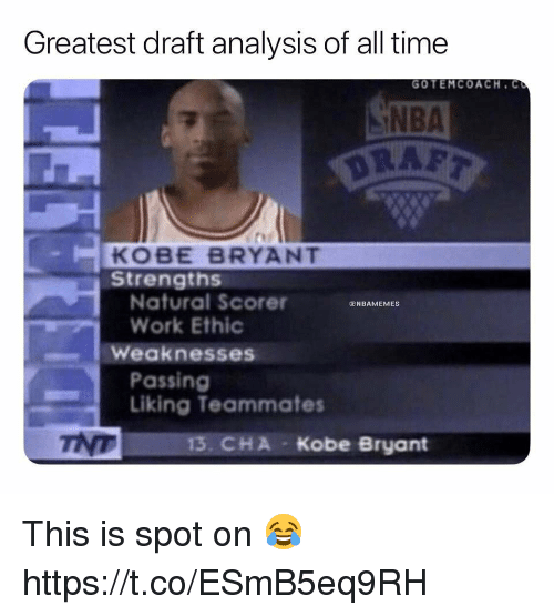 work ethic: Greatest draft analysis of all time  GOTEMCOACH. C  NBA  KOBE BRYANT  Strengths  Natural Scorer  Work Ethic  NBAMEMES  Weaknesses  Passing  Liking Teammates  тур  13. CHA  Kobe Bryant This is spot on 😂 https://t.co/ESmB5eq9RH