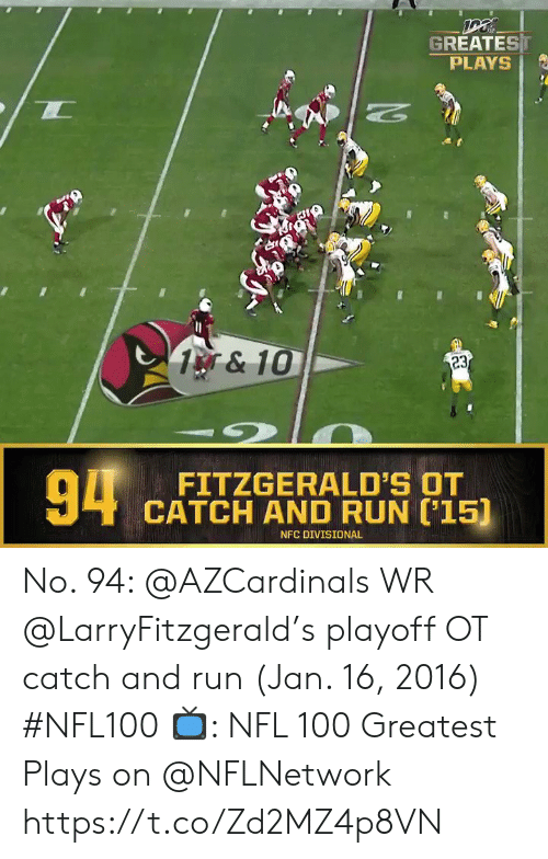 playoff: GREATEST  PLAYS  1&10  23  94  FITZGERALD'S OT  CATCH AND RUN 15)  NFC DIVISIONAL No. 94: @AZCardinals WR @LarryFitzgerald's playoff OT catch and run (Jan. 16, 2016) #NFL100  ?: NFL 100 Greatest Plays on @NFLNetwork https://t.co/Zd2MZ4p8VN
