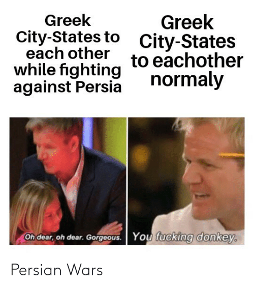 oh dear: Greek  City-States to  each other  while fighting  against Persia  Greek  City-States  to eachother  normaly  Oh dear, oh dear. Gorgeous.  You fucking donkey. Persian Wars
