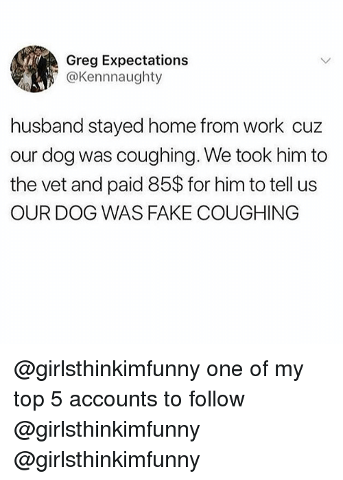 Fake, Memes, and Work: Greg Expectations  @Kennnaughty  husband stayed home from work cuz  our dog was coughing. We took him to  the vet and paid 85$ for him to tell us  OUR DOG WAS FAKE COUGHING @girlsthinkimfunny one of my top 5 accounts to follow @girlsthinkimfunny @girlsthinkimfunny