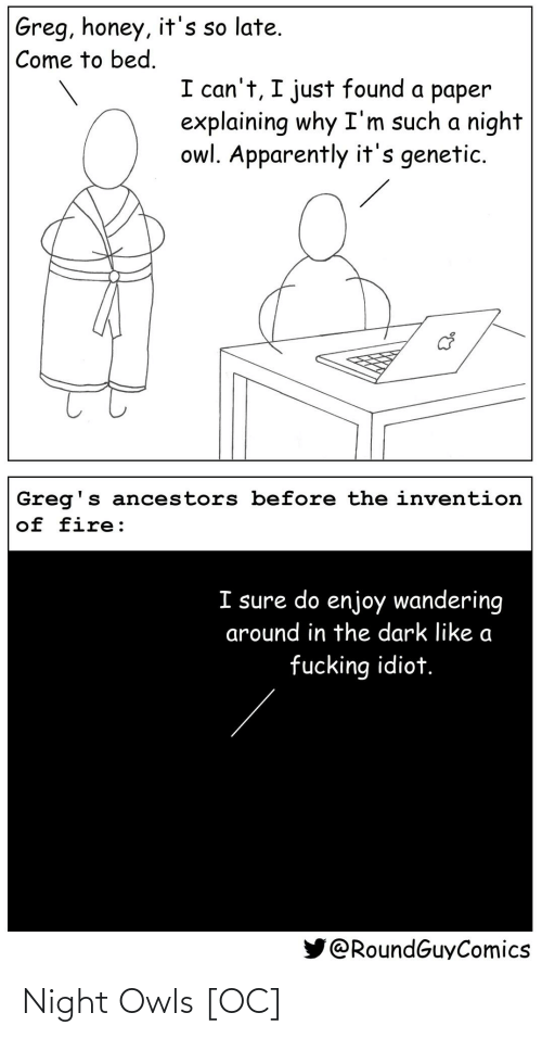 Come To: Greg, honey, it's so late.  Come to bed.  I can't, I just found a paper  explaining why I'm such a night  owl. Apparently it's genetic.  Greg's ancestors before the invention  of fire:  I sure do enjoy wandering  around in the dark like a  fucking idiot.  @RoundGuyComics Night Owls [OC]