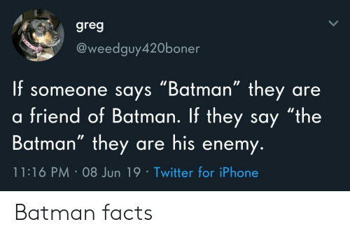 """the batman: greg  @weedguy420boner  f someone says """"Batman"""" they  friend of Batman. If they say """"the  Batman"""" they are his enemy.  are  11:16 PM 08 Jun 19 Twitter for iPhone Batman facts"""