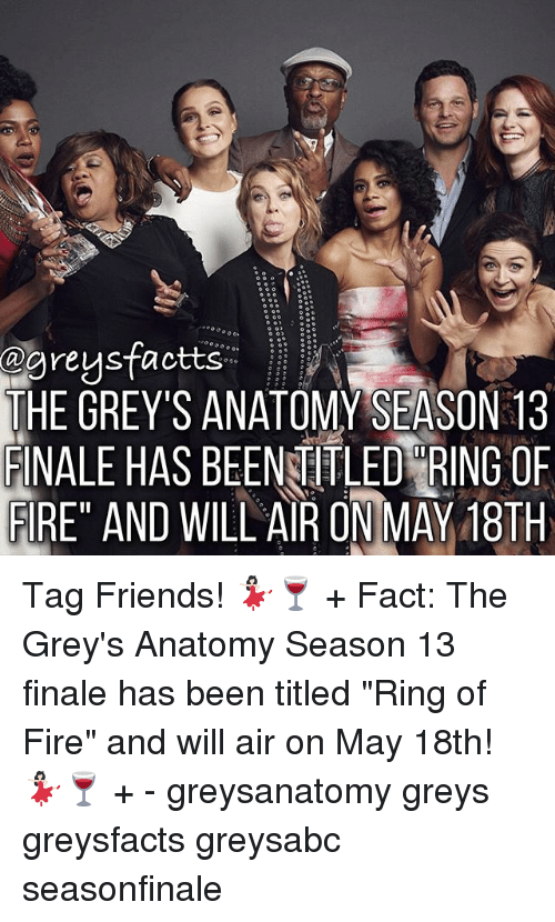 """ring of fire: @gregsfactts  THE GREY'S ANATOMY SEASON 13  FINALE HAS BEENTITLED RING OF  FIRE"""" AND WILLAIR ON MAY 18TH Tag Friends! 💃🏻🍷 + Fact: The Grey's Anatomy Season 13 finale has been titled """"Ring of Fire"""" and will air on May 18th! 💃🏻🍷 + - greysanatomy greys greysfacts greysabc seasonfinale"""