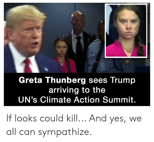 If Looks Could Kill: Greta Thunberg sees Trump  arriving to the  UN's Climate Action Summit. If looks could kill... And yes, we all can sympathize.