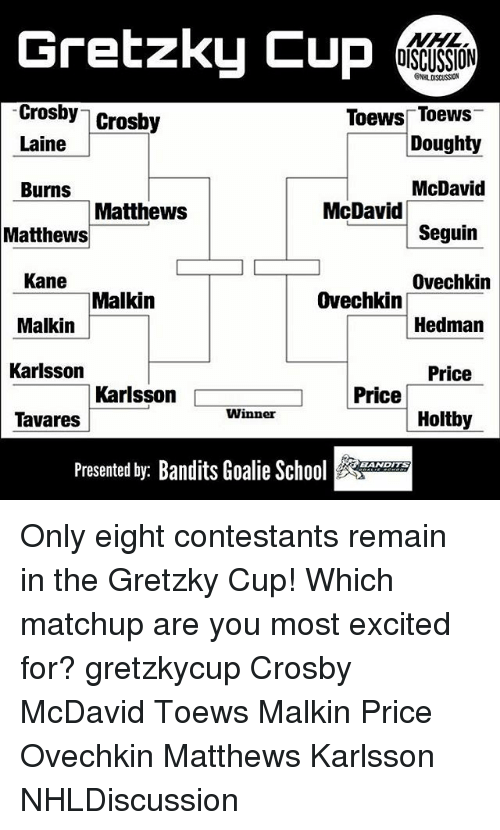 malkin: Gretzky Cup  Crosby Crosby  Toews Toews  Doughty  McDavid  Seguin  Ovechkin  Hedman  Price  Holtby  Laine  Burns  MatthewS  McDavi  Matthews  Kane  Malkin  Karlsson  Tavares  Malkin  Ovechkin  Karlsson  Price  Winner  Presented by: Bandits Goalie School Only eight contestants remain in the Gretzky Cup! Which matchup are you most excited for? gretzkycup Crosby McDavid Toews Malkin Price Ovechkin Matthews Karlsson NHLDiscussion